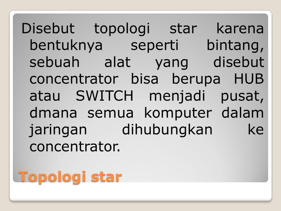Disebut topologi star karena bentuknya seperti bintang, sebuah alat yang disebut concentrator bisa berupa HUB atau SWITCH menjadi pusat, dmana semua komputer dalam jaringan dihubungkan ke concentrator.