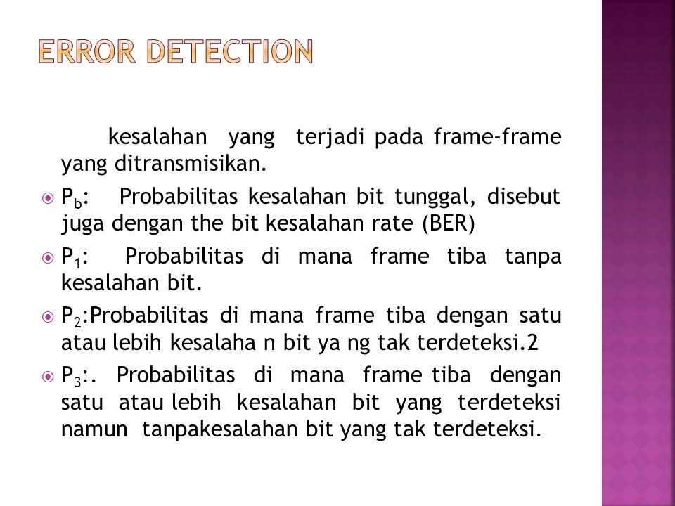 Error Detection kesalahan yang terjadi pada frame-frame yang ditransmisikan.