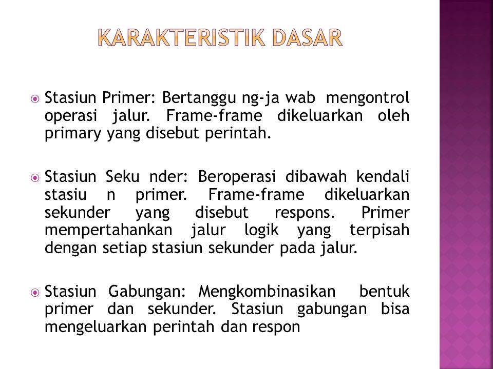 Karakteristik Dasar Stasiun Primer: Bertanggu ng-ja wab mengontrol operasi jalur. Frame-frame dikeluarkan oleh primary yang disebut perintah.