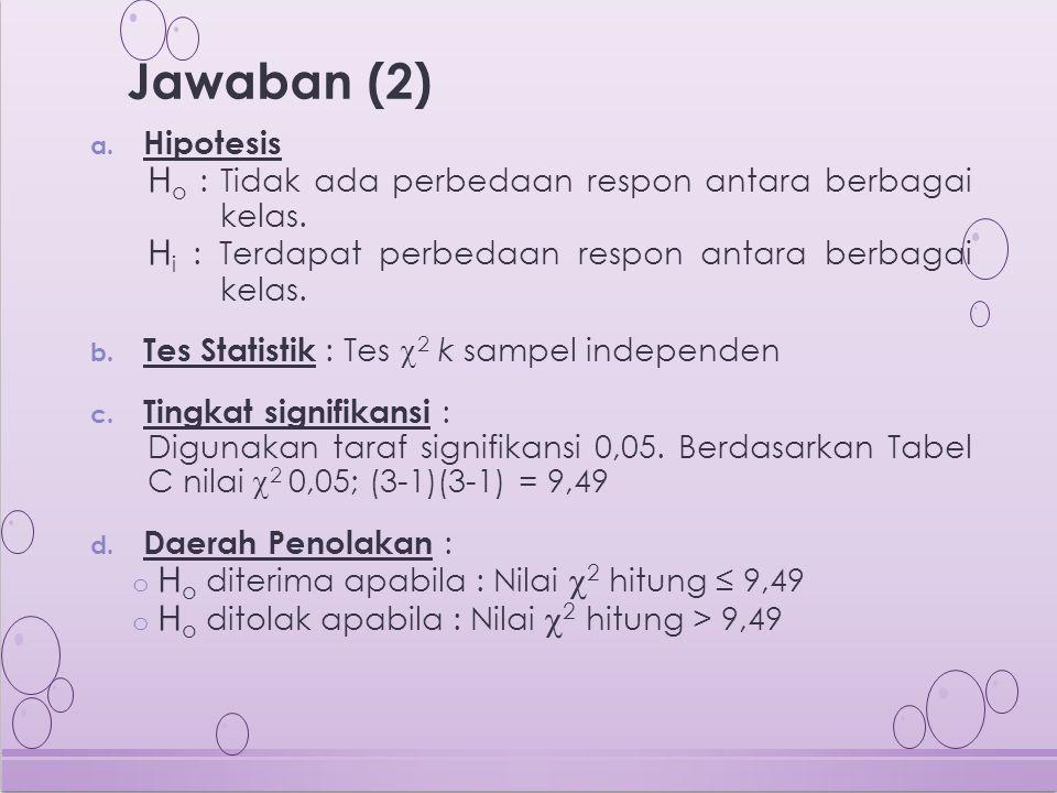 Jawaban (2) Ho : Tidak ada perbedaan respon antara berbagai kelas.
