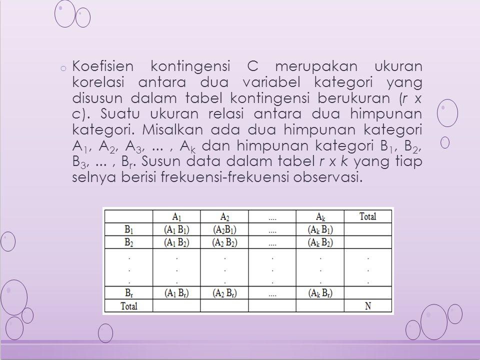 Koefisien kontingensi C merupakan ukuran korelasi antara dua variabel kategori yang disusun dalam tabel kontingensi berukuran (r x c).