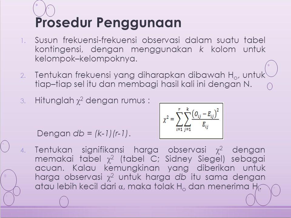 Prosedur Penggunaan Susun frekuensi-frekuensi observasi dalam suatu tabel kontingensi, dengan menggunakan k kolom untuk kelompok–kelompoknya.