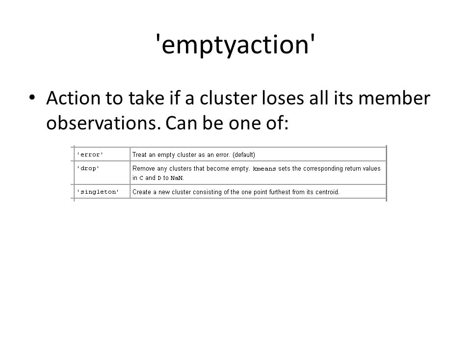 emptyaction Action to take if a cluster loses all its member observations. Can be one of: