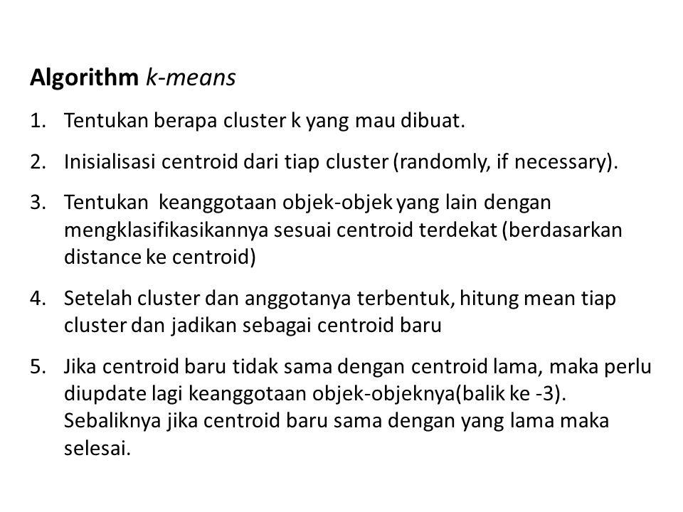 Algorithm k-means Tentukan berapa cluster k yang mau dibuat.