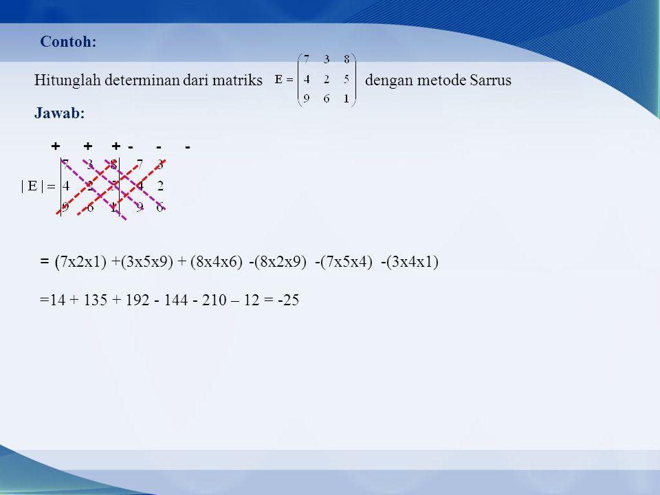 Contoh: Hitunglah determinan dari matriks dengan metode Sarrus. Jawab: + + +