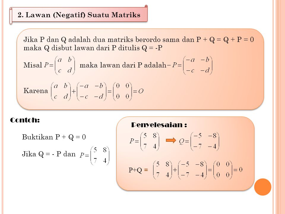 2. Lawan (Negatif) Suatu Matriks