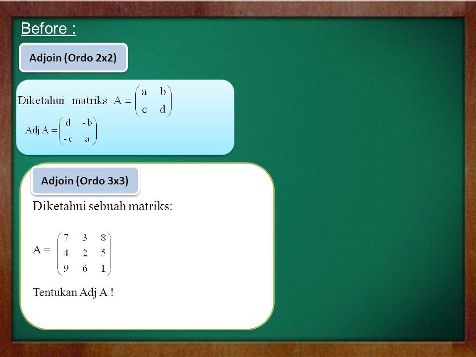 Before : Diketahui sebuah matriks: Adjoin (Ordo 2x2) Adjoin (Ordo 3x3)