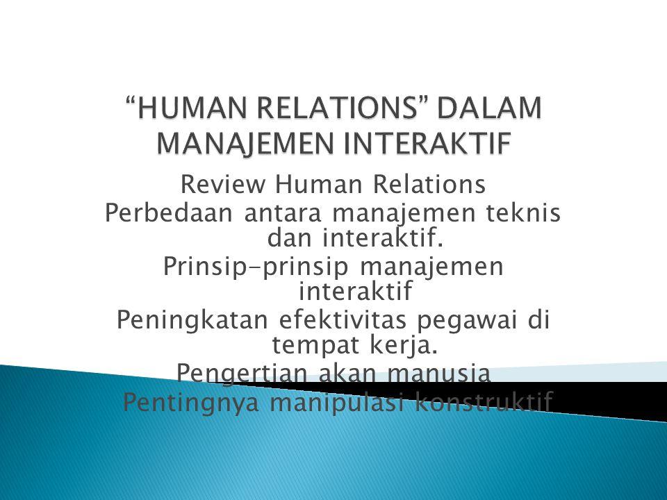 HUMAN RELATIONS DALAM MANAJEMEN INTERAKTIF