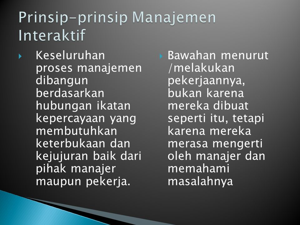 Prinsip-prinsip Manajemen Interaktif