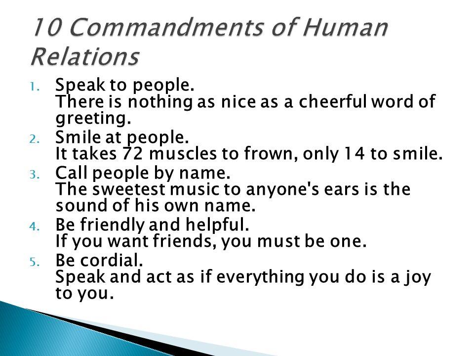 10 Commandments of Human Relations