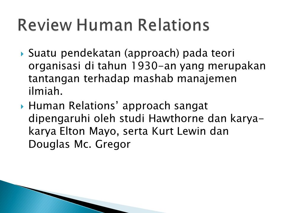 Review Human Relations