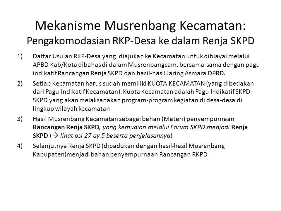 Mekanisme Musrenbang Kecamatan: Pengakomodasian RKP-Desa ke dalam Renja SKPD