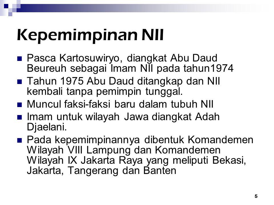 Kepemimpinan NII Pasca Kartosuwiryo, diangkat Abu Daud Beureuh sebagai Imam NII pada tahun1974.