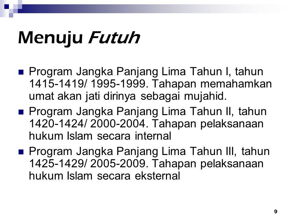 Menuju Futuh Program Jangka Panjang Lima Tahun I, tahun 1415-1419/ 1995-1999. Tahapan memahamkan umat akan jati dirinya sebagai mujahid.