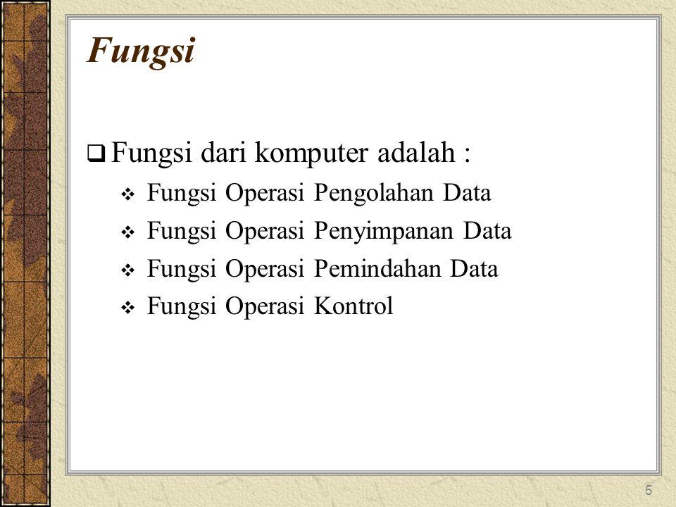 Fungsi Fungsi dari komputer adalah : Fungsi Operasi Pengolahan Data