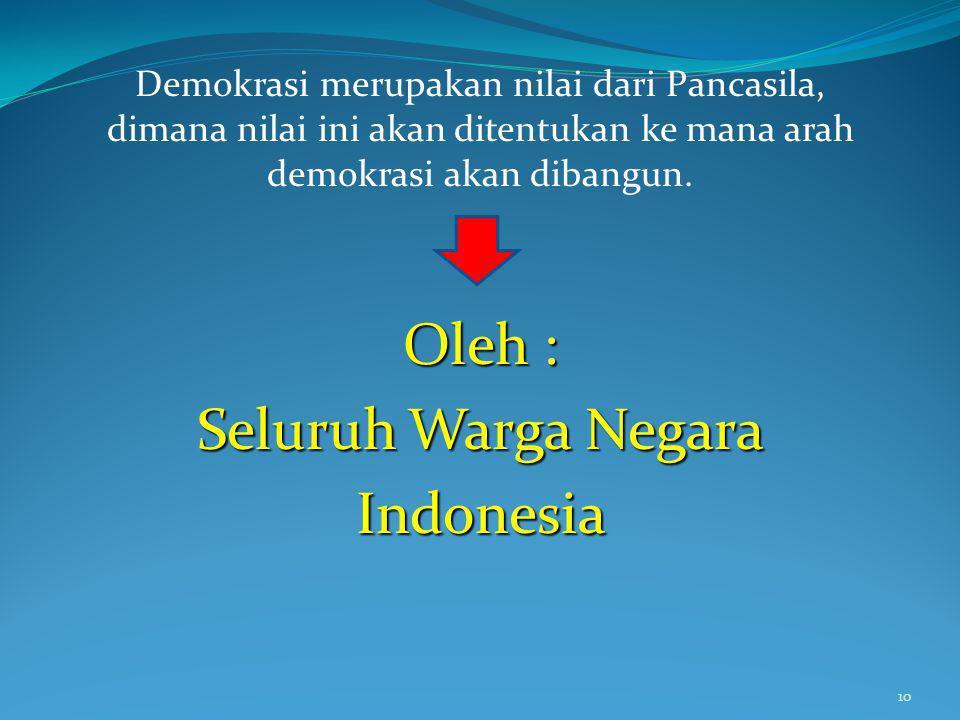 Oleh : Seluruh Warga Negara Indonesia