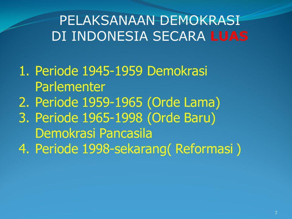 PELAKSANAAN DEMOKRASI DI INDONESIA SECARA LUAS