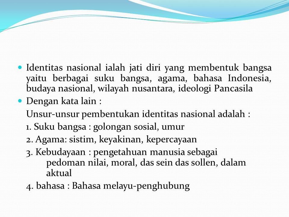 Identitas nasional ialah jati diri yang membentuk bangsa yaitu berbagai suku bangsa, agama, bahasa Indonesia, budaya nasional, wilayah nusantara, ideologi Pancasila