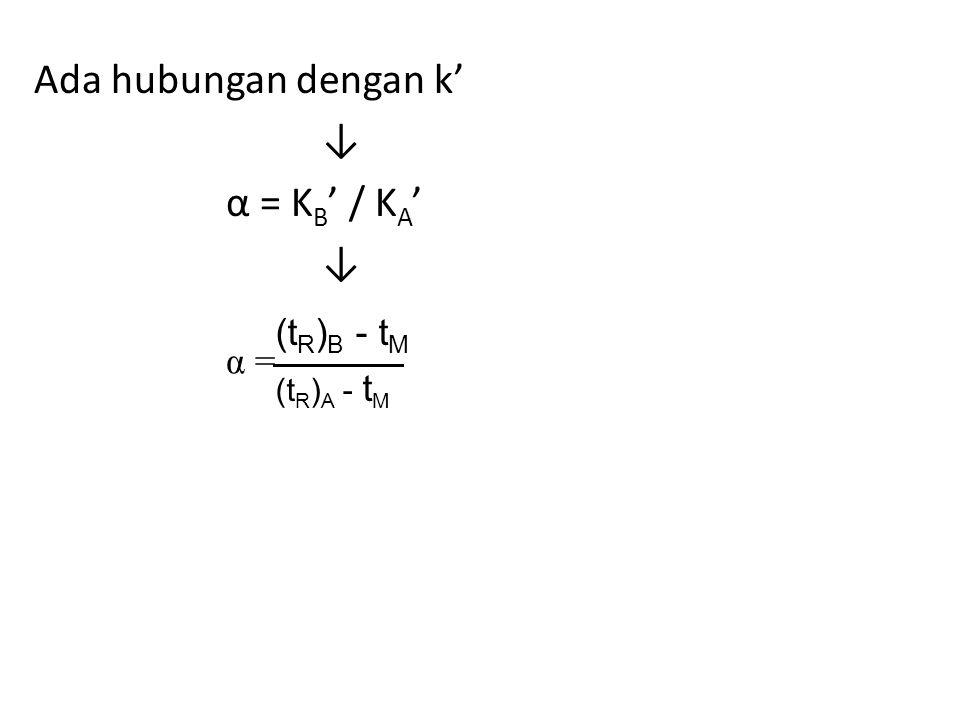 Ada hubungan dengan k' ↓ α = KB' / KA'