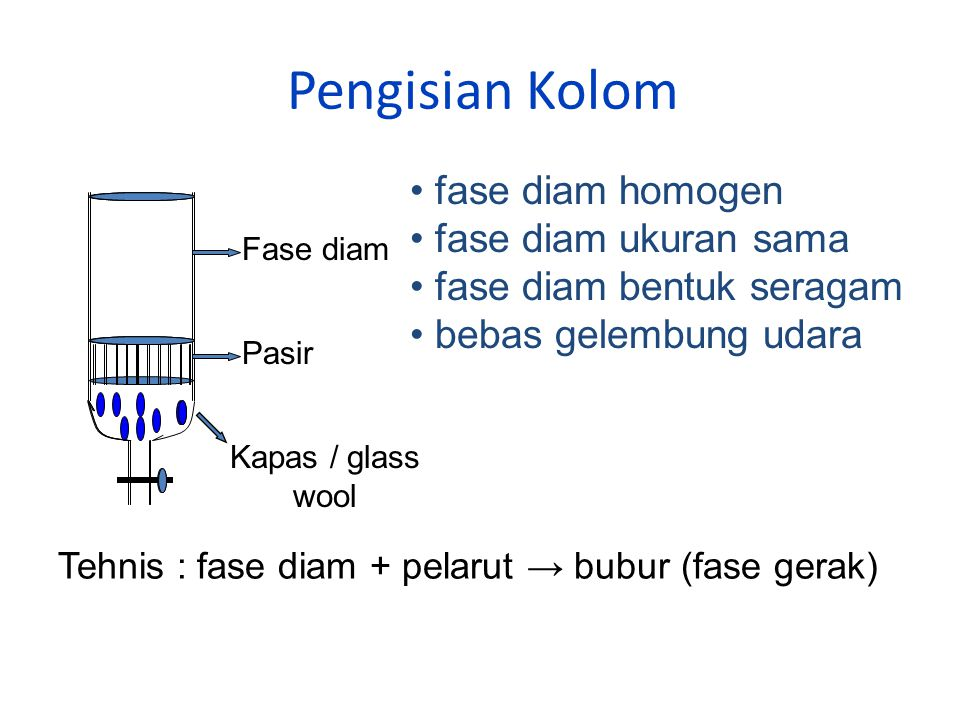 Pengisian Kolom fase diam homogen fase diam ukuran sama