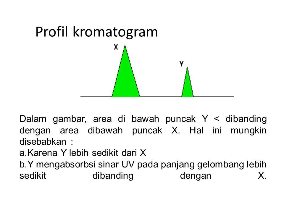 Profil kromatogram Dalam gambar, area di bawah puncak Y < dibanding dengan area dibawah puncak X. Hal ini mungkin disebabkan :