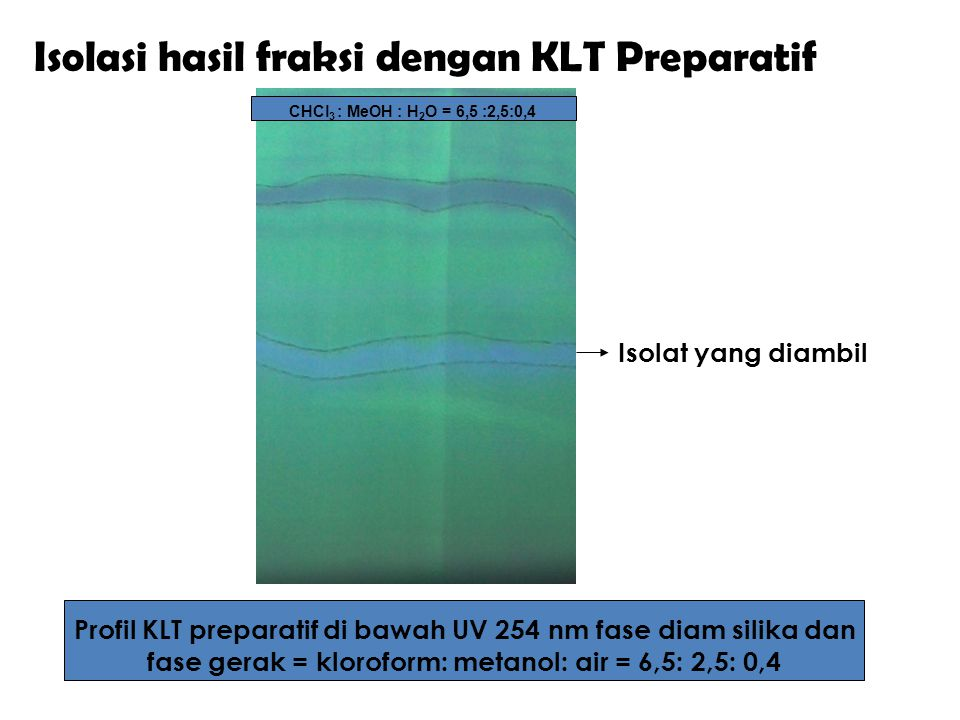 fase gerak = kloroform: metanol: air = 6,5: 2,5: 0,4