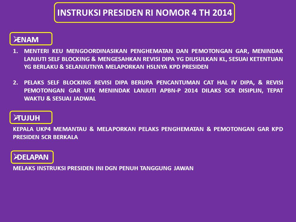 INSTRUKSI PRESIDEN RI NOMOR 4 TH 2014