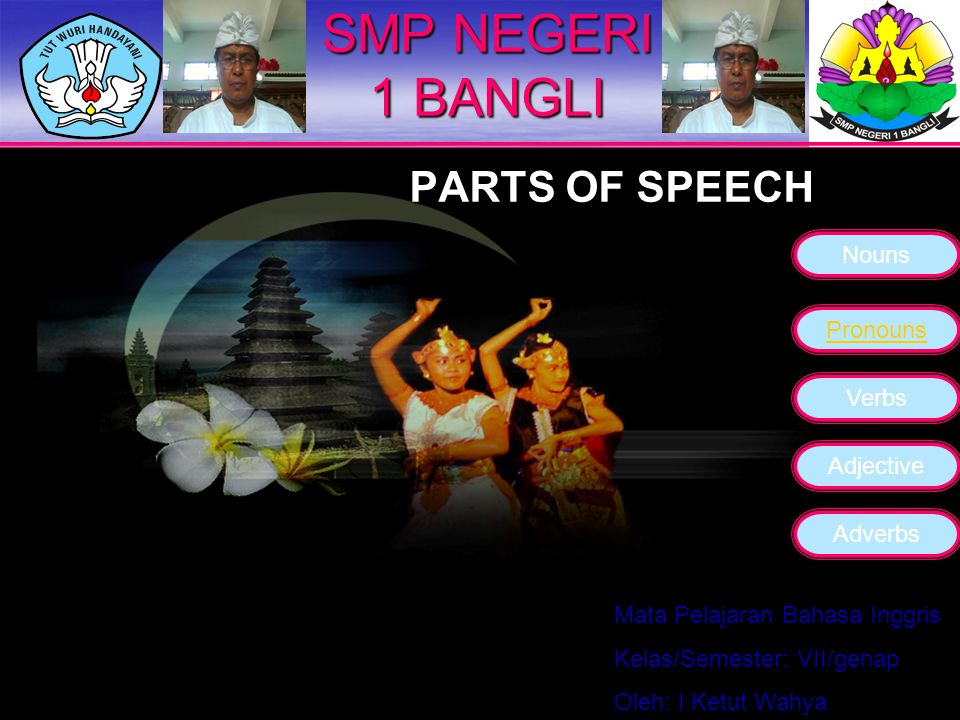 SMP NEGERI 1 BANGLI PARTS OF SPEECH