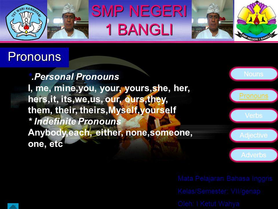 SMP NEGERI 1 BANGLI Pronouns *.Personal Pronouns