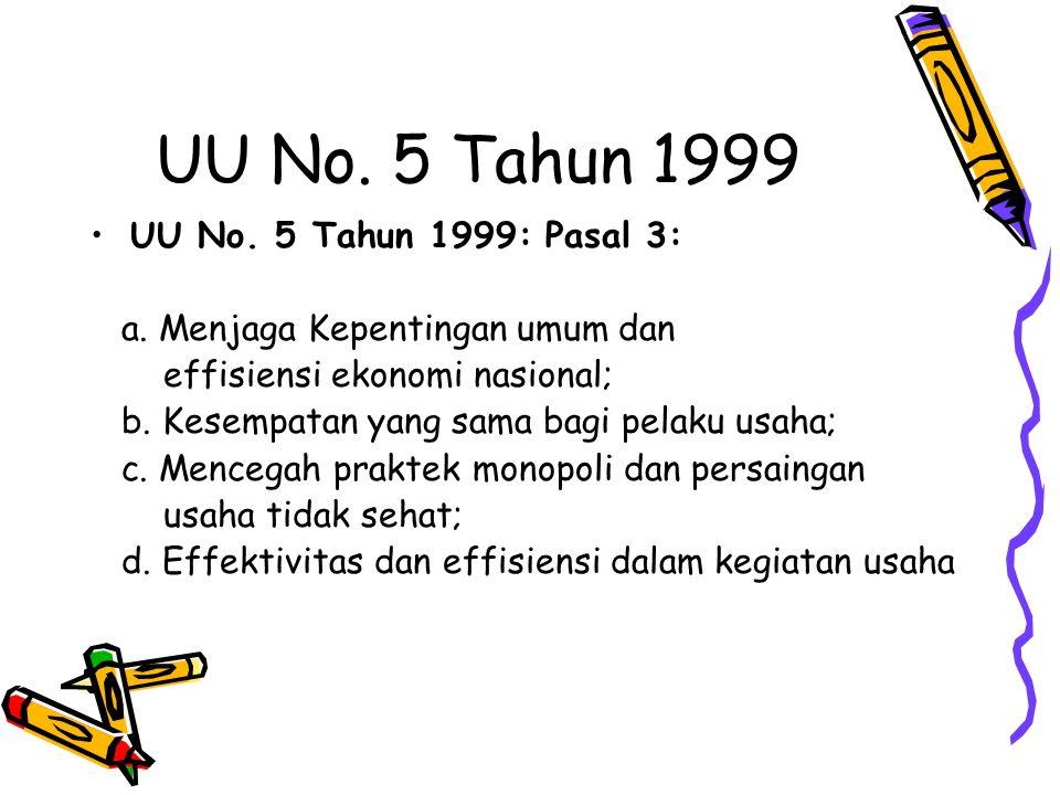 UU No. 5 Tahun 1999 UU No. 5 Tahun 1999: Pasal 3: