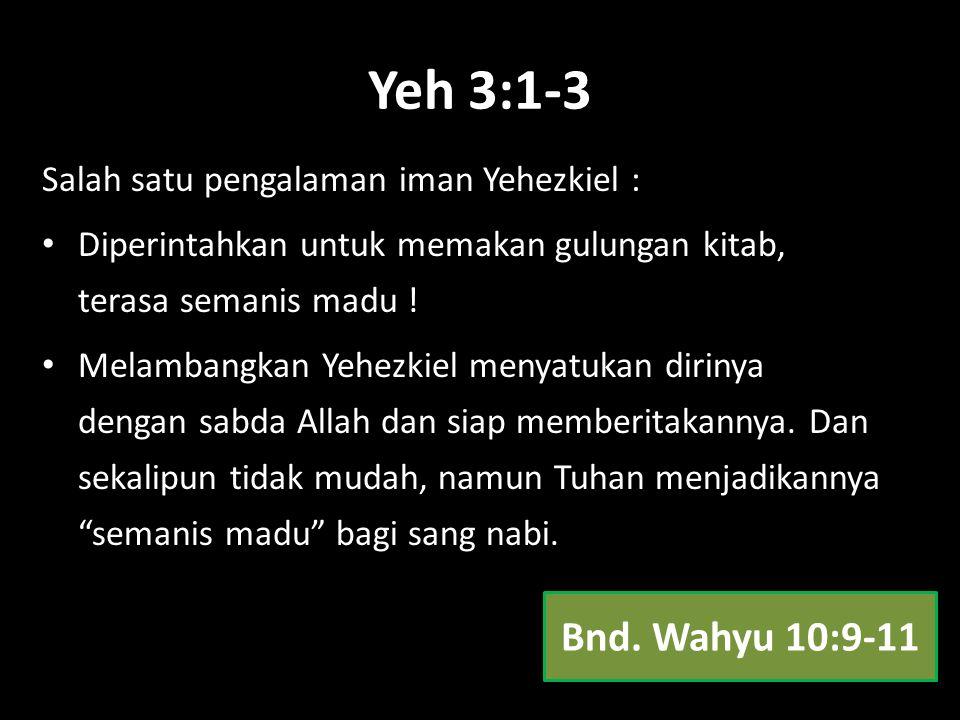 Yeh 3:1-3 Bnd. Wahyu 10:9-11 Salah satu pengalaman iman Yehezkiel :