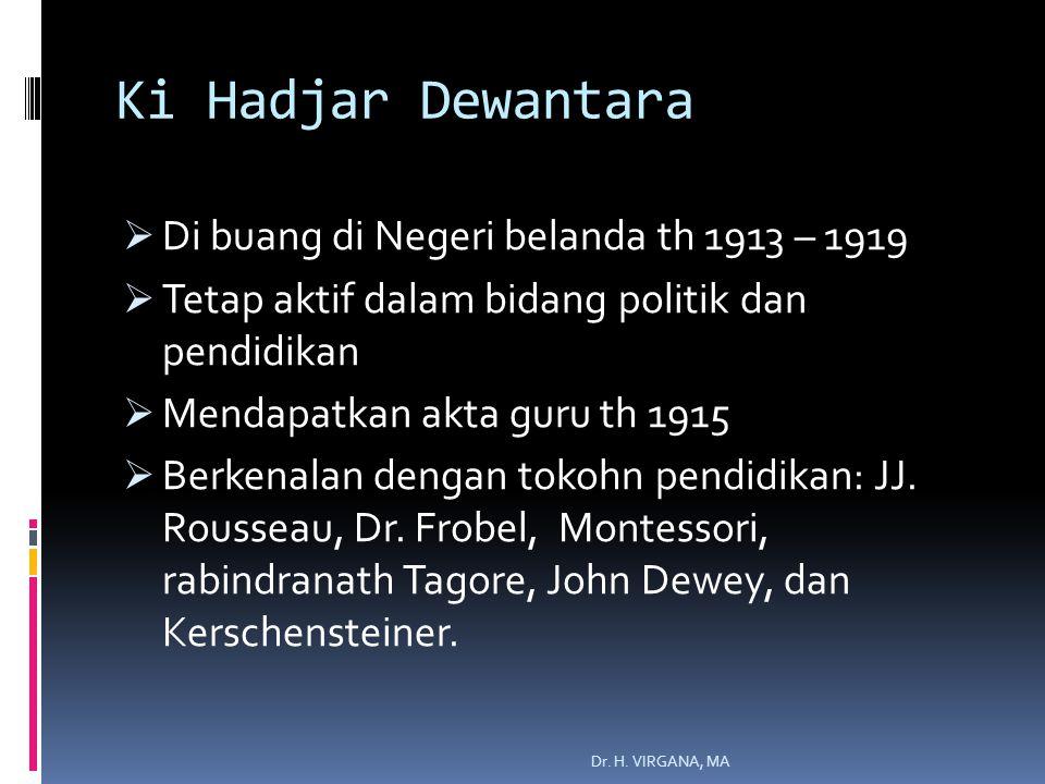 Ki Hadjar Dewantara Di buang di Negeri belanda th 1913 – 1919