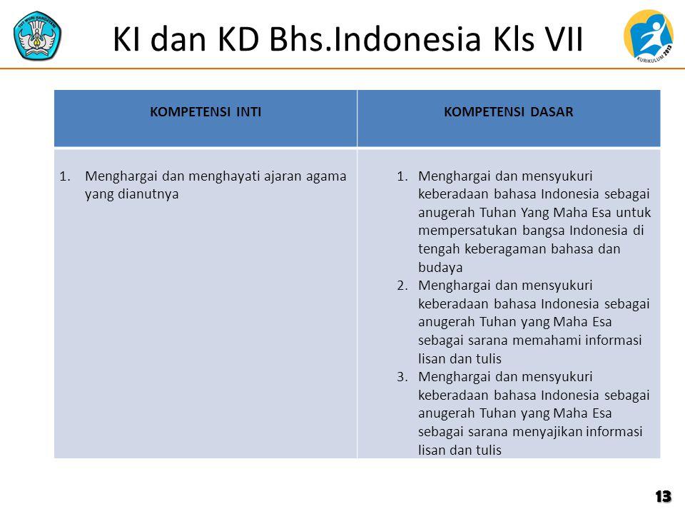 KI dan KD Bhs.Indonesia Kls VII