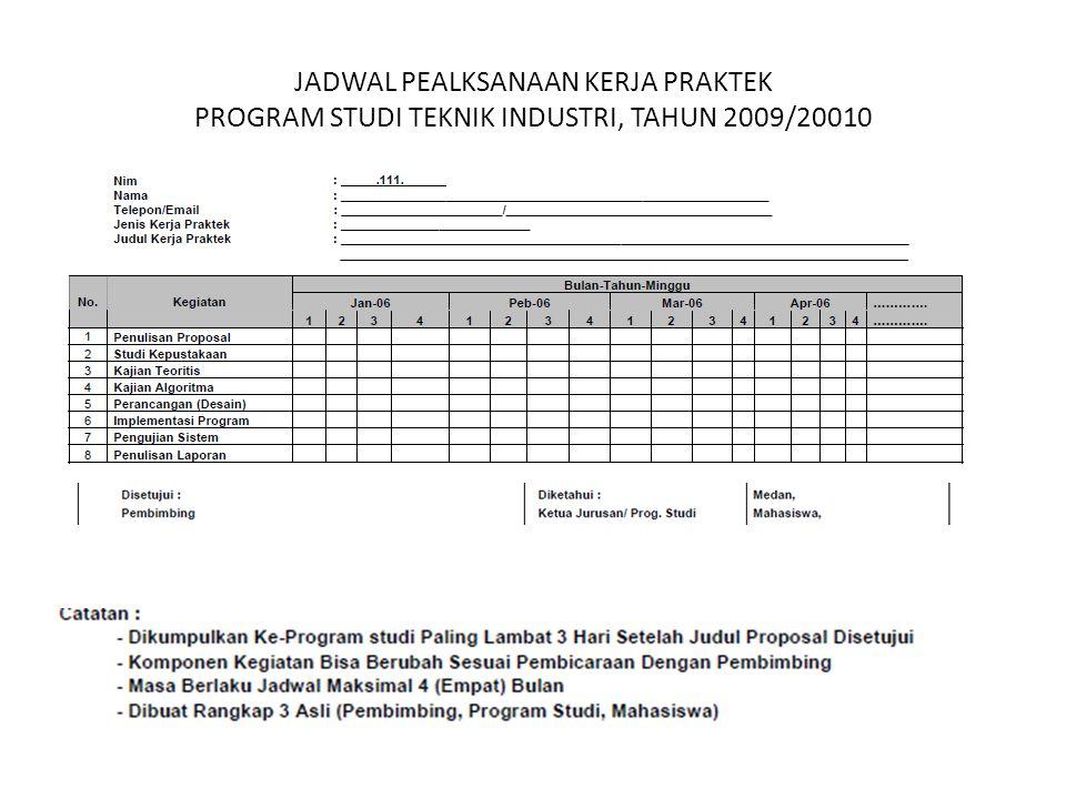 JADWAL PEALKSANAAN KERJA PRAKTEK PROGRAM STUDI TEKNIK INDUSTRI, TAHUN 2009/20010