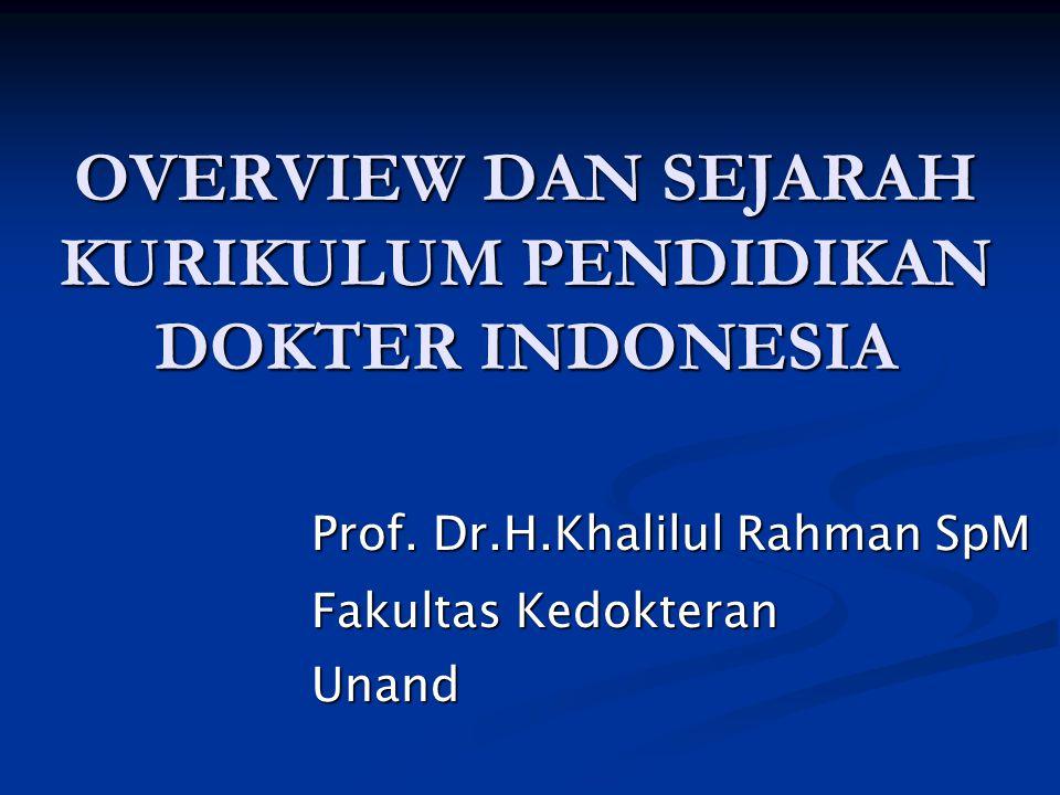 OVERVIEW DAN SEJARAH KURIKULUM PENDIDIKAN DOKTER INDONESIA