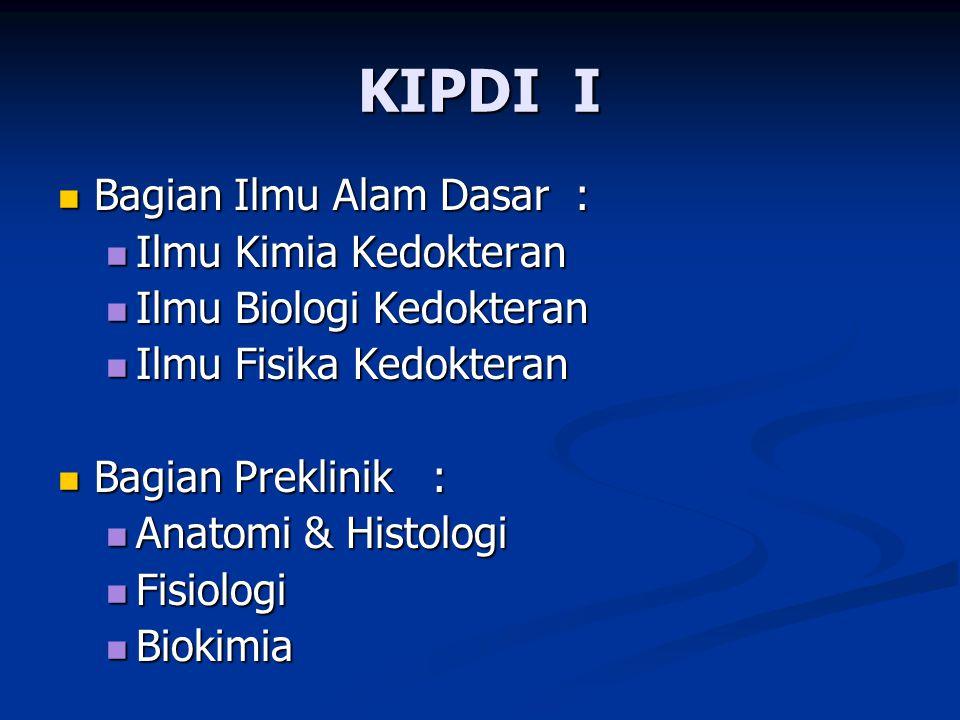 KIPDI I Bagian Ilmu Alam Dasar : Ilmu Kimia Kedokteran