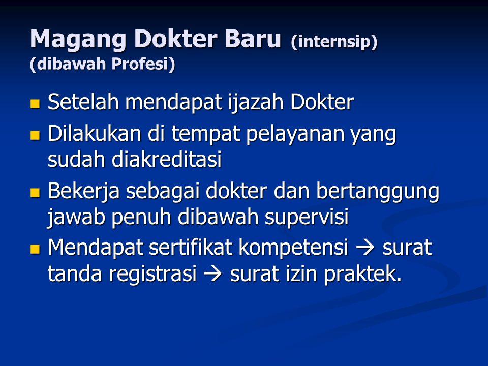 Magang Dokter Baru (internsip) (dibawah Profesi)