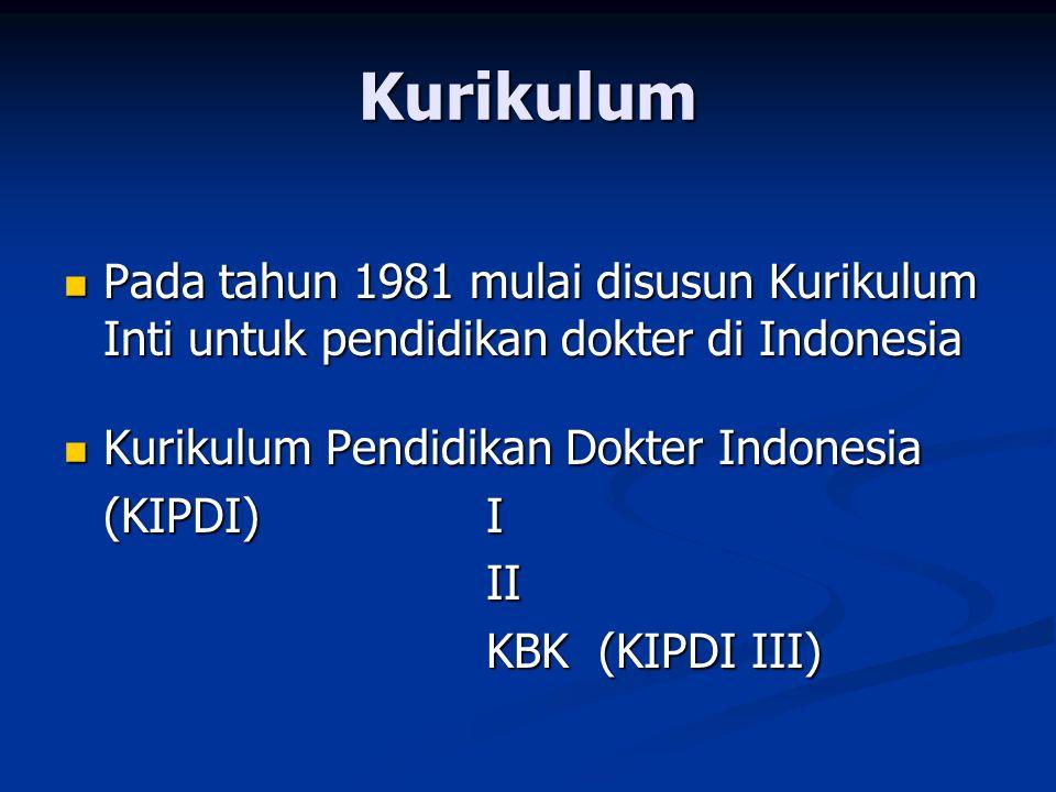 Kurikulum Pada tahun 1981 mulai disusun Kurikulum Inti untuk pendidikan dokter di Indonesia. Kurikulum Pendidikan Dokter Indonesia.