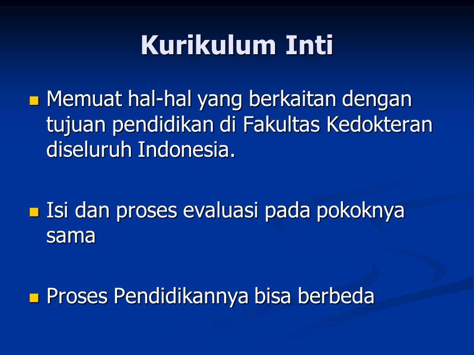 Kurikulum Inti Memuat hal-hal yang berkaitan dengan tujuan pendidikan di Fakultas Kedokteran diseluruh Indonesia.