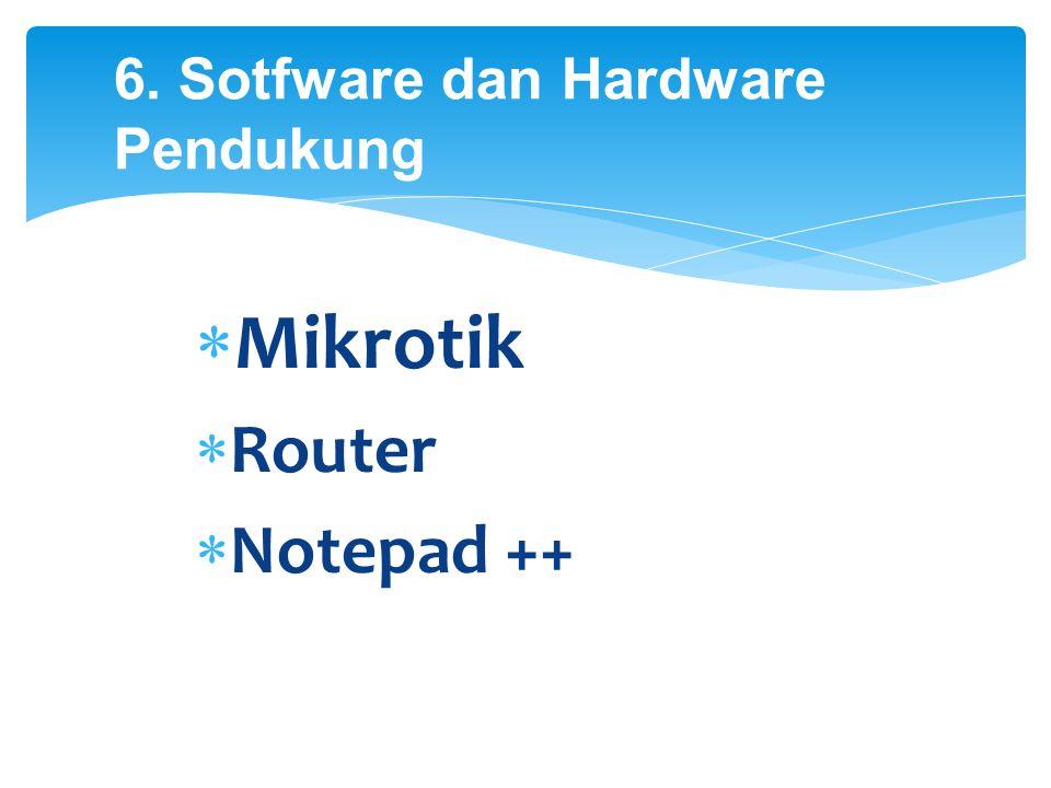 6. Sotfware dan Hardware Pendukung