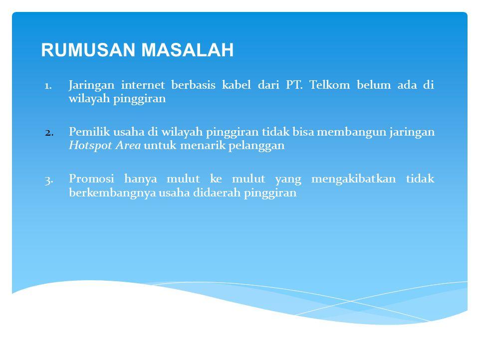 RUMUSAN MASALAH Jaringan internet berbasis kabel dari PT. Telkom belum ada di wilayah pinggiran.
