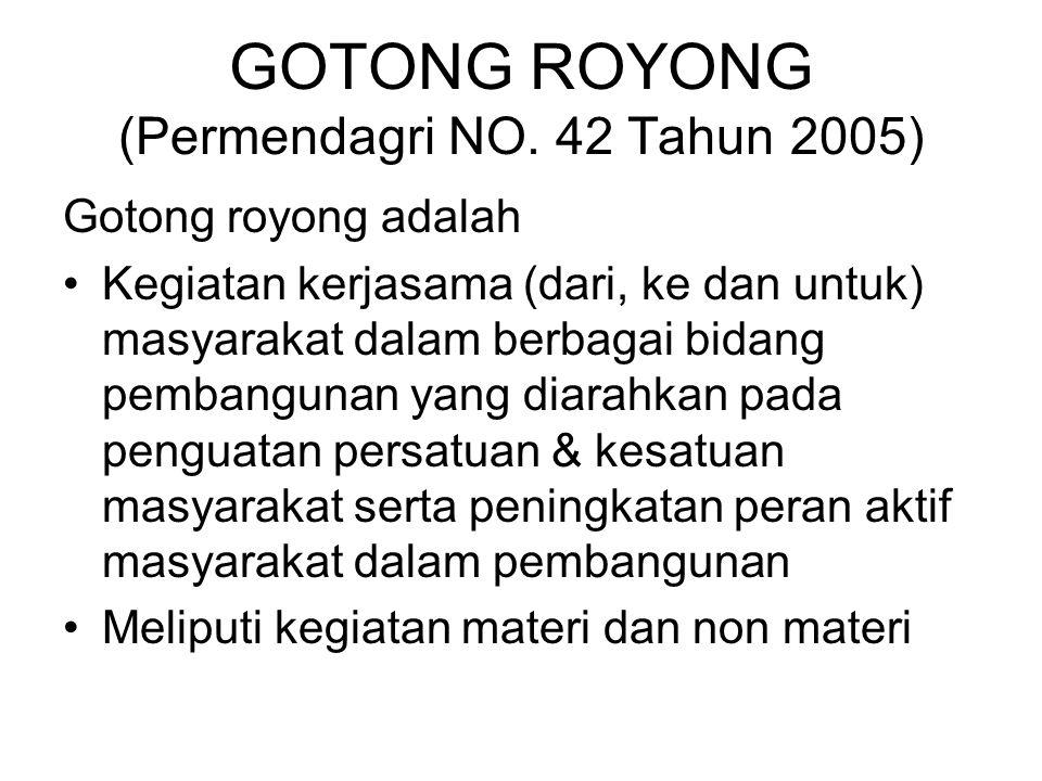 GOTONG ROYONG (Permendagri NO. 42 Tahun 2005)
