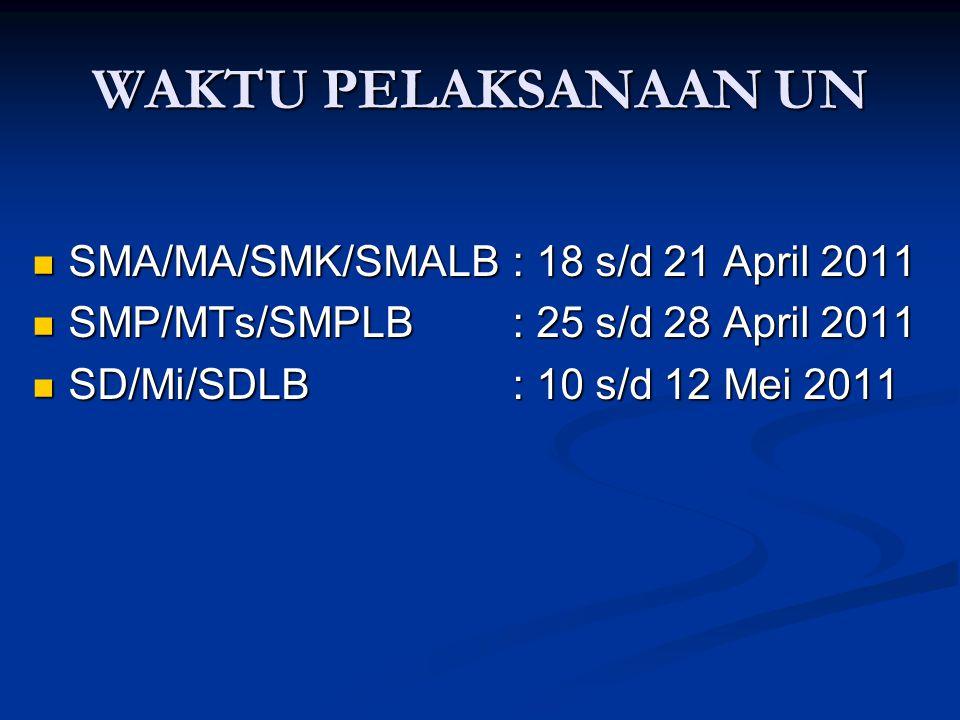 WAKTU PELAKSANAAN UN SMA/MA/SMK/SMALB : 18 s/d 21 April 2011