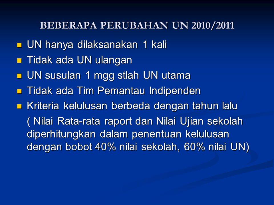 BEBERAPA PERUBAHAN UN 2010/2011