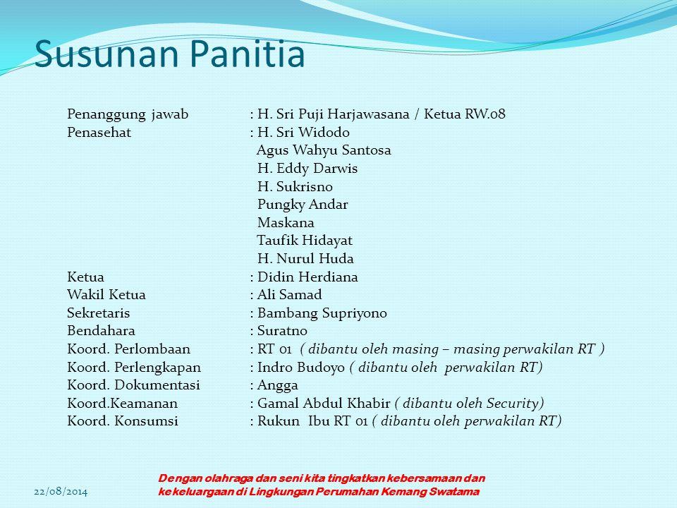 Susunan Panitia Penanggung jawab : H. Sri Puji Harjawasana / Ketua RW.08. Penasehat : H. Sri Widodo.