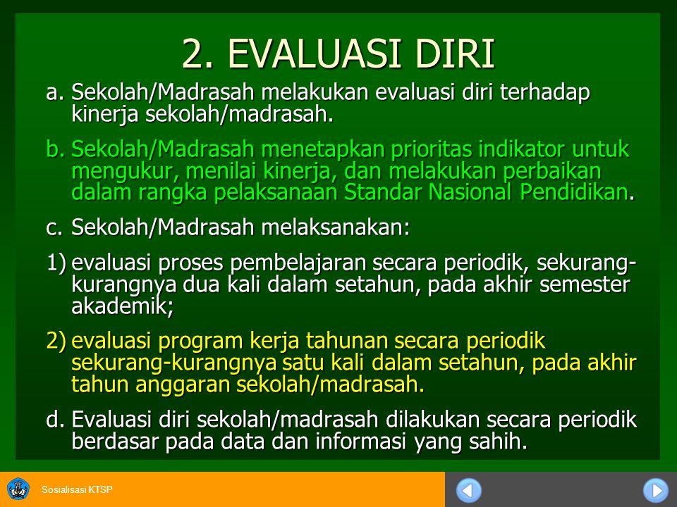 2. EVALUASI DIRI a. Sekolah/Madrasah melakukan evaluasi diri terhadap kinerja sekolah/madrasah.