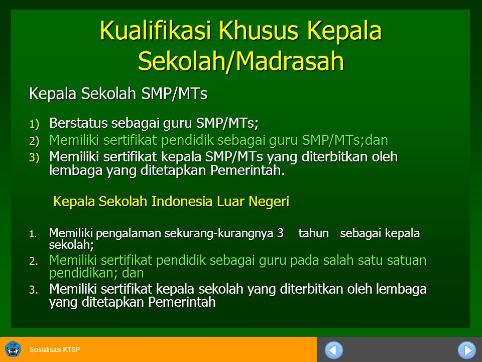 Kualifikasi Khusus Kepala Sekolah/Madrasah