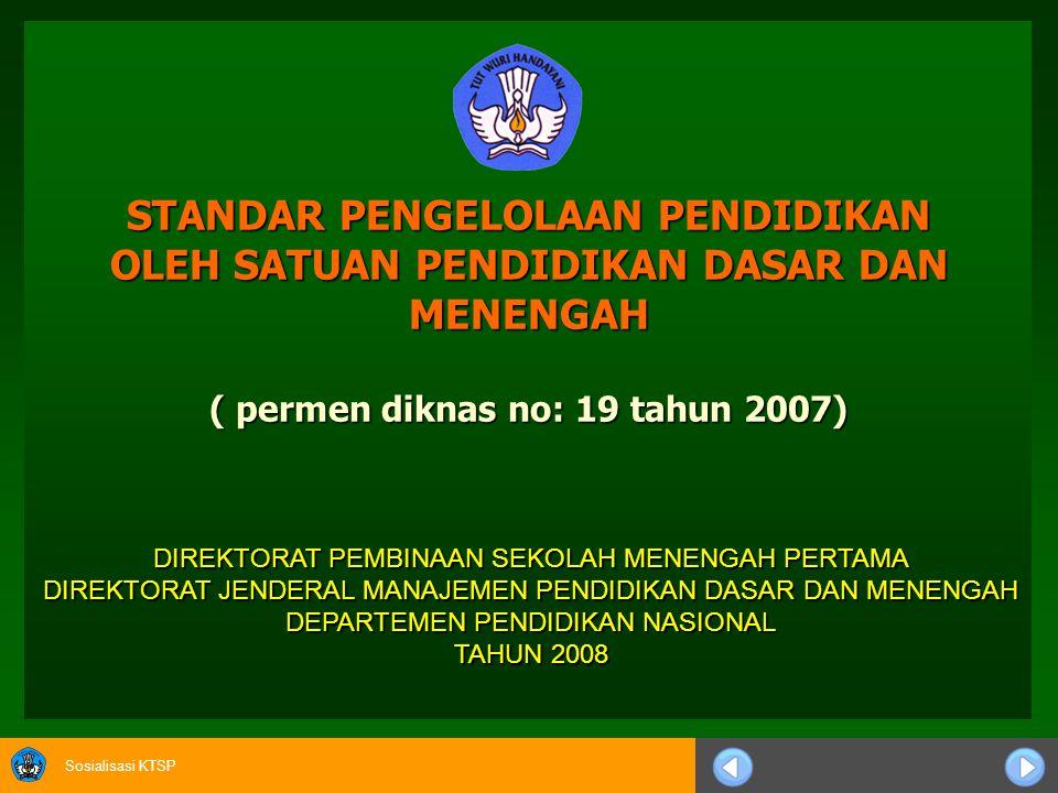 STANDAR PENGELOLAAN PENDIDIKAN OLEH SATUAN PENDIDIKAN DASAR DAN MENENGAH ( permen diknas no: 19 tahun 2007)