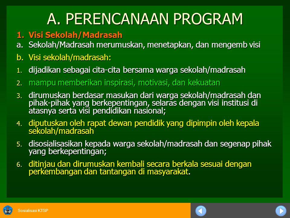 A. PERENCANAAN PROGRAM 1. Visi Sekolah/Madrasah