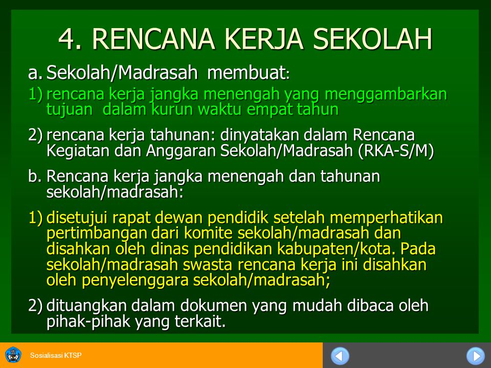 4. RENCANA KERJA SEKOLAH a. Sekolah/Madrasah membuat: